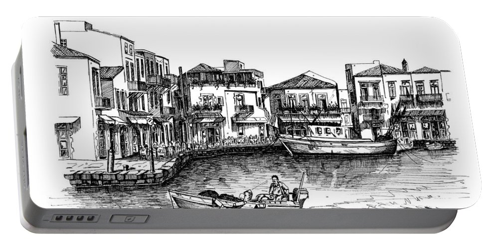 Rapitgraf No. 02 And No. 03 Portable Battery Charger featuring the drawing Old Port- Rethymno by Franko Brkac