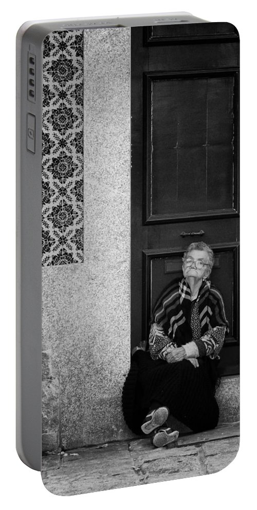 Old Portable Battery Charger featuring the photograph Old Portuguese Woman by Pablo Lopez