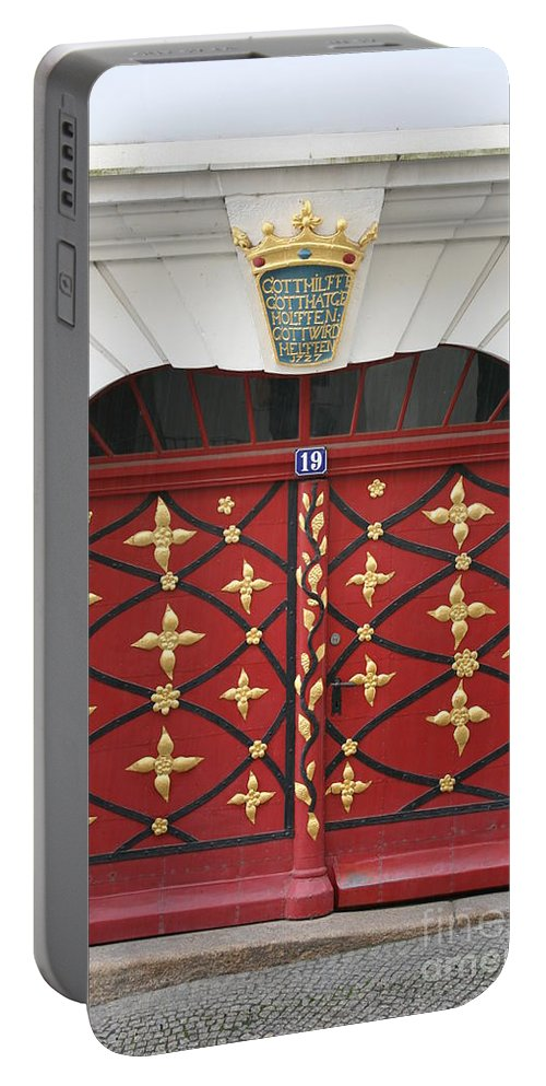 Door Portable Battery Charger featuring the photograph Old Red Door by Christiane Schulze Art And Photography