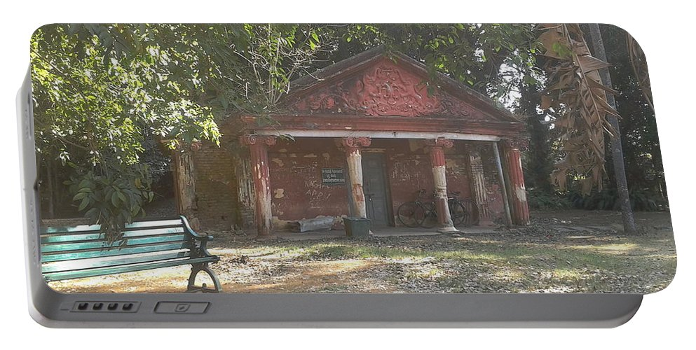 Bench Portable Battery Charger featuring the photograph Old Red House In Lal Bag by Artist Nandika Dutt