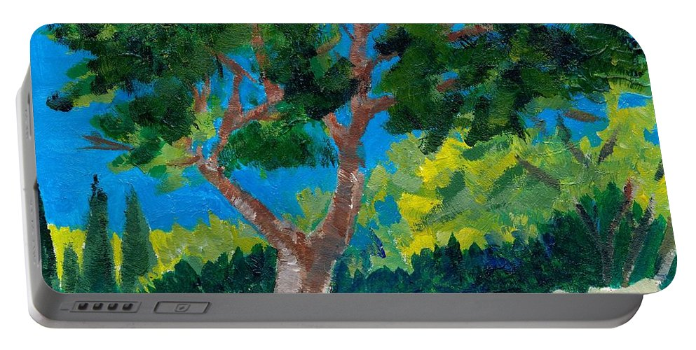 Trees Portable Battery Charger featuring the painting Old Ruins At Rhodes by Adele Bower