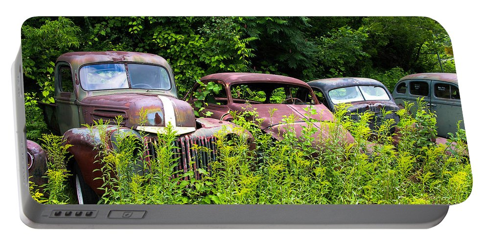 Cars Portable Battery Charger featuring the photograph Old Rusty Cars by Sherman Perry