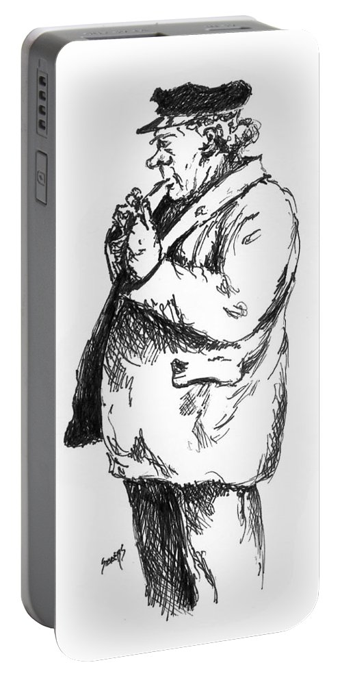 Sailor Portable Battery Charger featuring the drawing Old Sailor by Sam Sidders