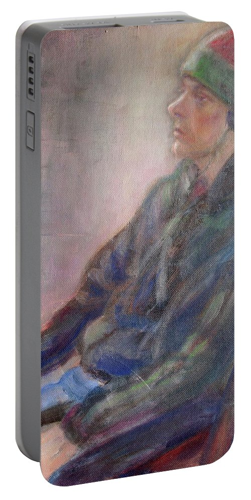 Quin Sweetman Portable Battery Charger featuring the painting Old School - Contemporary Portrait by Quin Sweetman
