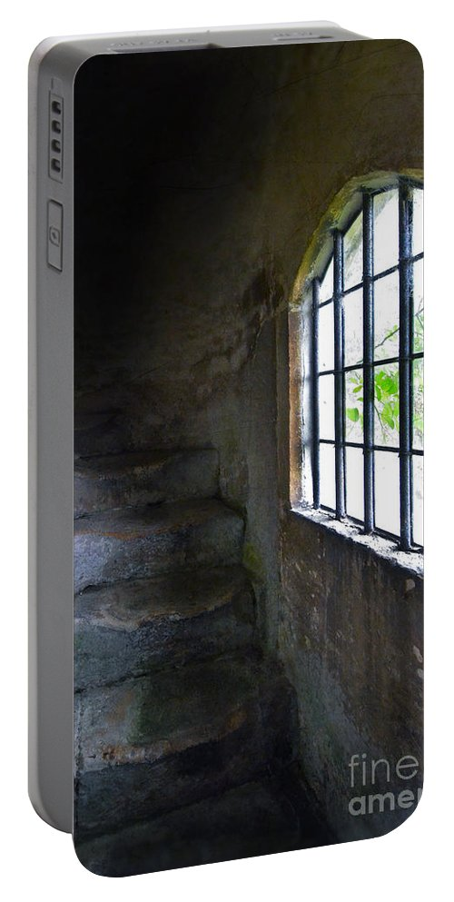 Window Portable Battery Charger featuring the photograph Old Stone Staircase by Jill Battaglia