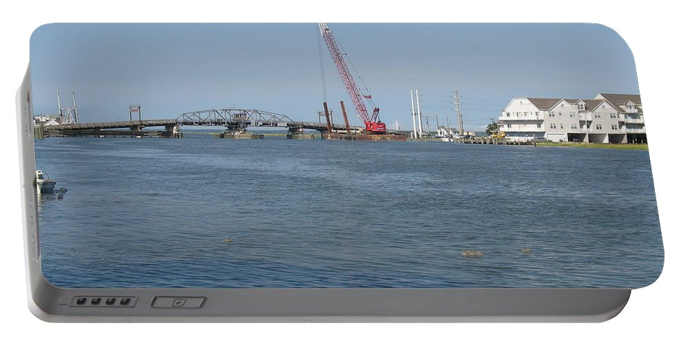 Sound Portable Battery Charger featuring the photograph Old Swing Bridge Chincoteague by Christiane Schulze Art And Photography
