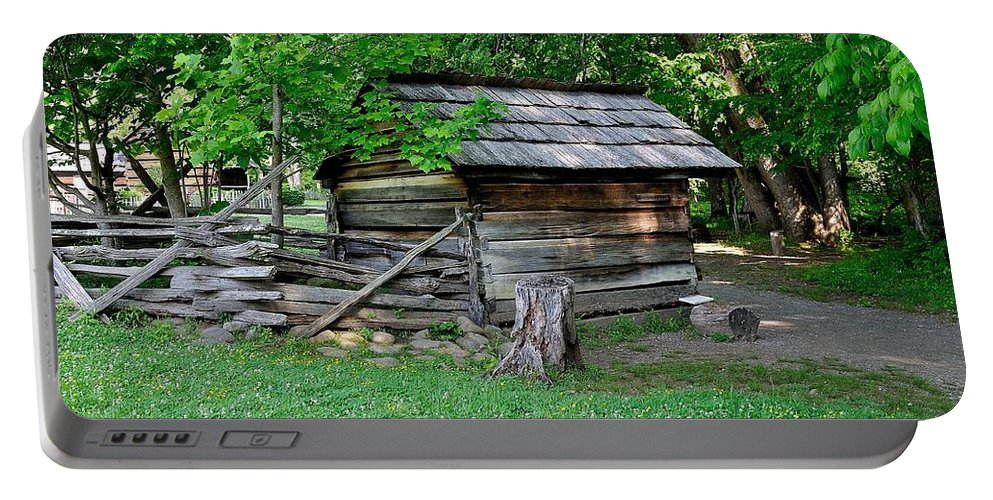 Farm Portable Battery Charger featuring the photograph Old Tool Shed by Todd Hostetter