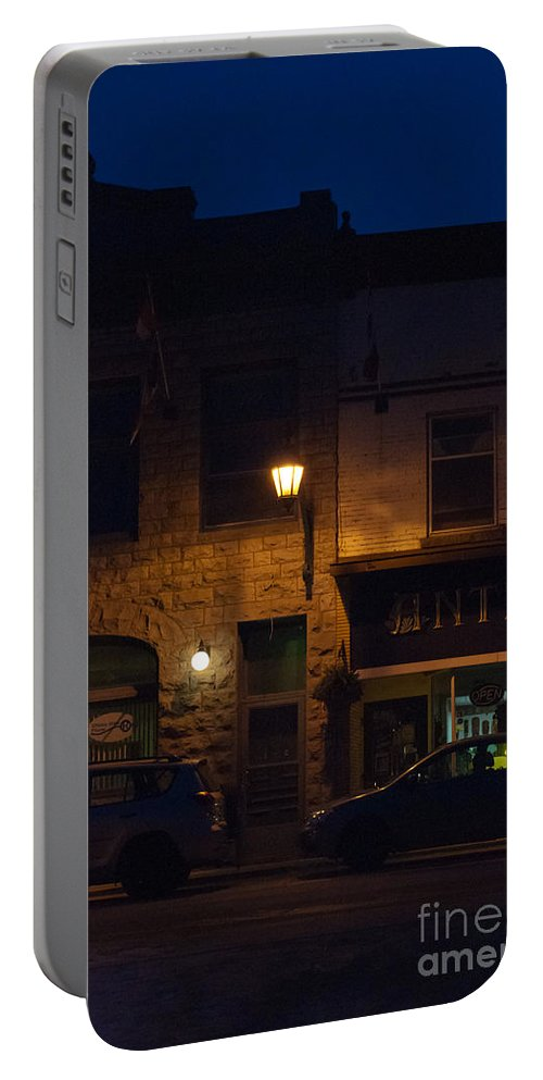 Antiques Portable Battery Charger featuring the photograph Old Town At Night by Cheryl Baxter