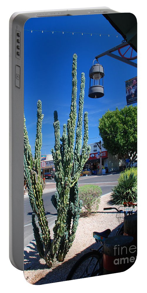 Cactus Old Town Scottsdale Arizona Portable Battery Charger featuring the photograph Old Town Cactus by Richard Gibb