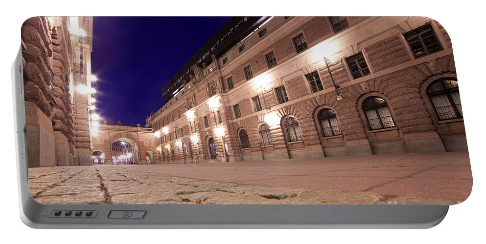 Stockholm Portable Battery Charger featuring the photograph Old Town In Stockholm At Night by Michal Bednarek