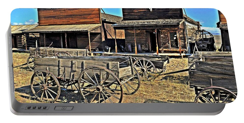 American West Portable Battery Charger featuring the photograph Old Town Mainstreet by Marty Koch