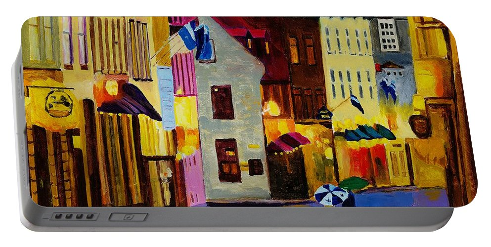 Quebec Portable Battery Charger featuring the painting Old Towne Quebec by Rodney Campbell