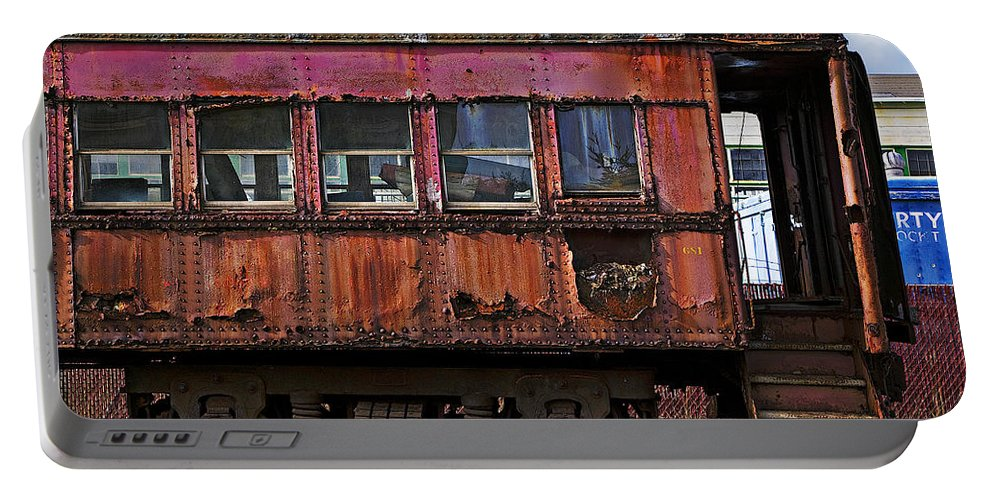 Railroad Portable Battery Charger featuring the photograph Old Train Car by Garry Gay