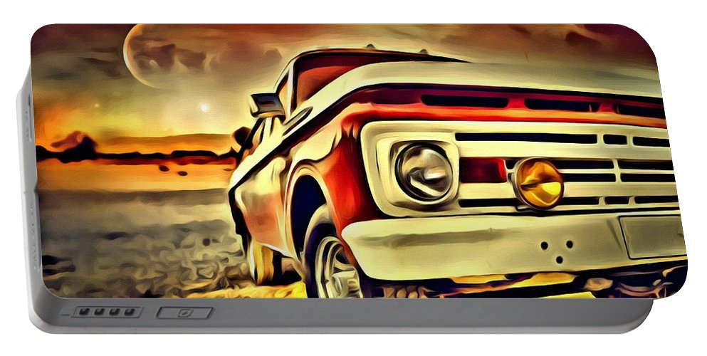 Old Portable Battery Charger featuring the painting Old Truck Art by Florian Rodarte