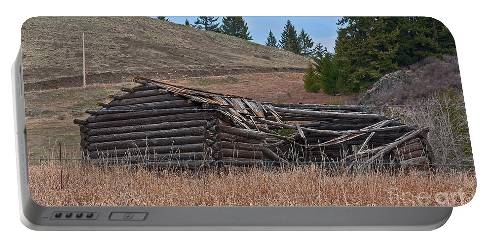 Abandoned Portable Battery Charger featuring the photograph Old Turn Of The Century Log Cabin Homestead Art Prints by Valerie Garner