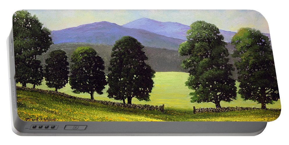Landscape Portable Battery Charger featuring the painting Old Wall Old Maples by Frank Wilson