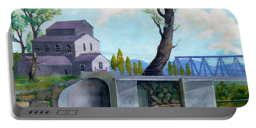 Old Portable Battery Charger featuring the painting Old Water Mill by Sergey Bezhinets