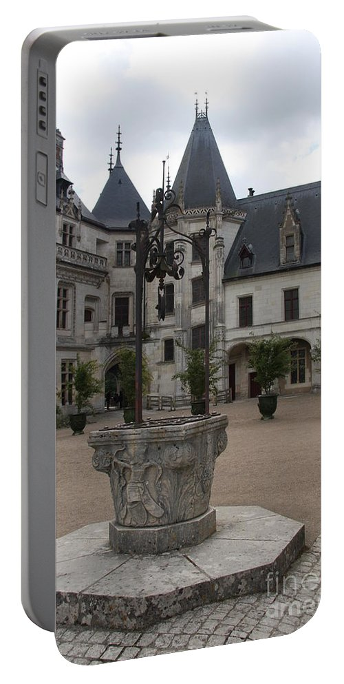 Palace Portable Battery Charger featuring the photograph Old Well And Courtyard Chateau Chaumont by Christiane Schulze Art And Photography