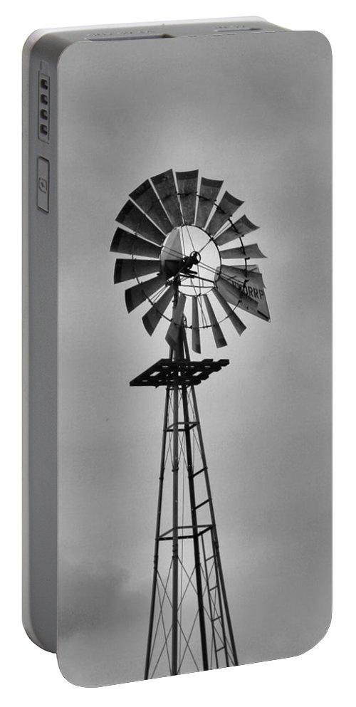 Black And White Windmill Portable Battery Charger featuring the photograph Old Windmill by Dan Sproul