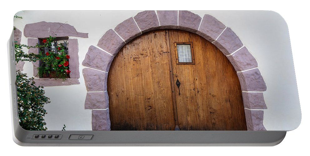 Door Portable Battery Charger featuring the photograph Old Wooden Door by Dutourdumonde Photography