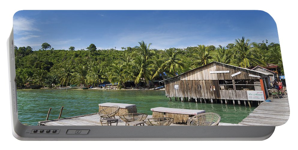 Asia Portable Battery Charger featuring the photograph Old Wooden Pier Of Koh Rong Island In Cambodia by Jacek Malipan