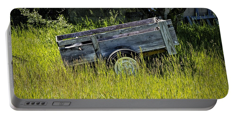 Art Portable Battery Charger featuring the photograph Old Wooden Wagon by Randall Nyhof