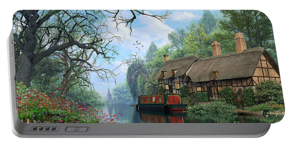 Romantic Portable Battery Charger featuring the digital art Old Woodland Cottage by Dominic Davison
