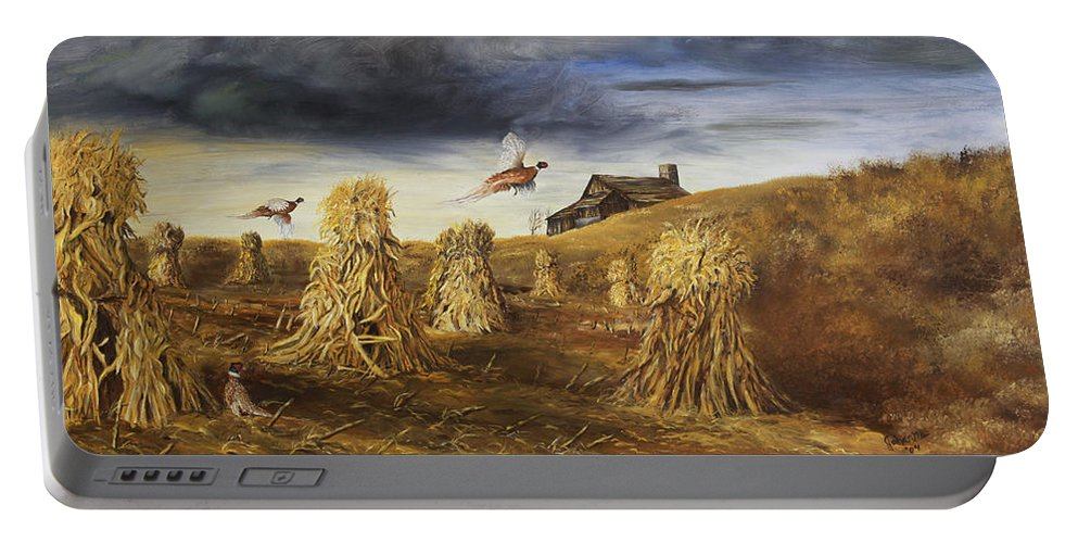 Landscape Portable Battery Charger featuring the painting Olden Days by Johanna Lerwick