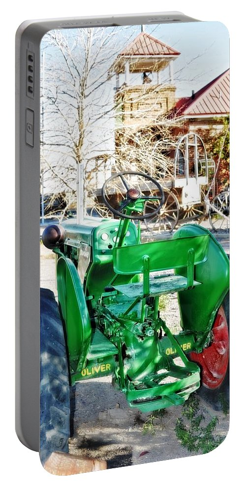 Dell Portable Battery Charger featuring the photograph Oliver 60 Tractor In Dell by Image Takers Photography LLC
