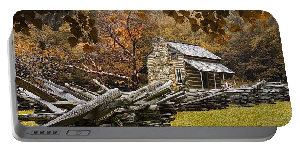 Great Smoky Mountains Portable Battery Charger featuring the photograph Oliver's Log Cabin During Fall In The Great Smoky Mountains by Randall Nyhof