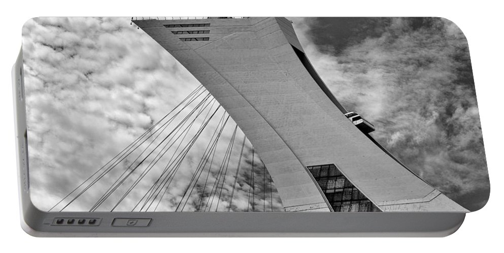 B/w Portable Battery Charger featuring the photograph Olympic Stadium by Eunice Gibb
