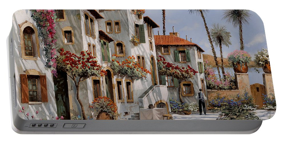 Italy Portable Battery Charger featuring the painting Ombre Al Pomeriggio by Guido Borelli