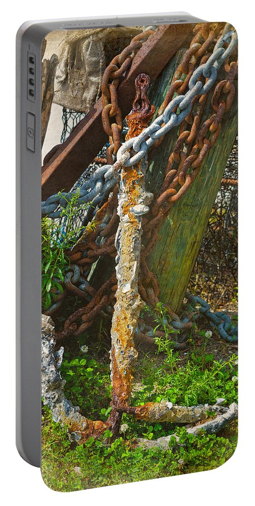 Anchor Portable Battery Charger featuring the photograph On A Seabed I Rested by Sandi OReilly