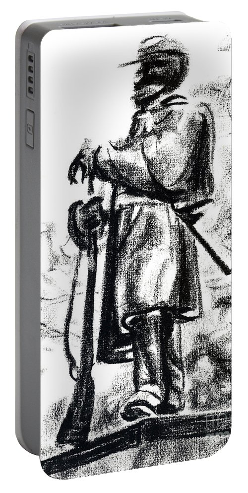On Duty In Brigadoon No Ch101 Portable Battery Charger featuring the drawing On Duty In Brigadoon No Ch101 by Kip DeVore