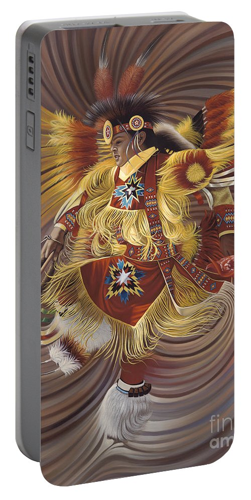 Sacred Portable Battery Charger featuring the painting On Sacred Ground Series 4 by Ricardo Chavez-Mendez