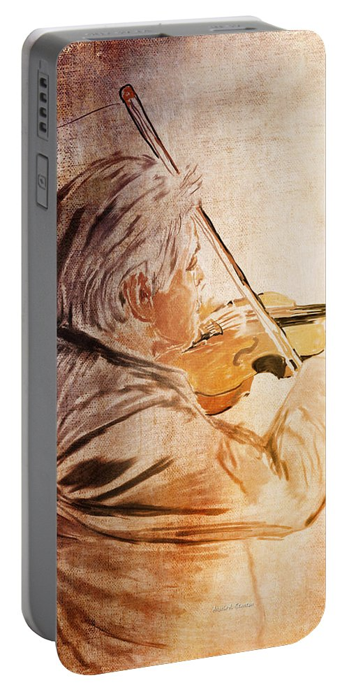 Violin Portable Battery Charger featuring the painting On Stage The Violinist by Angela Stanton