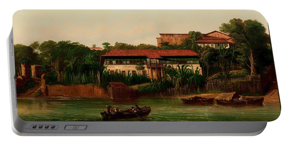 Painting Portable Battery Charger featuring the painting On The Banks Of The River by Mountain Dreams