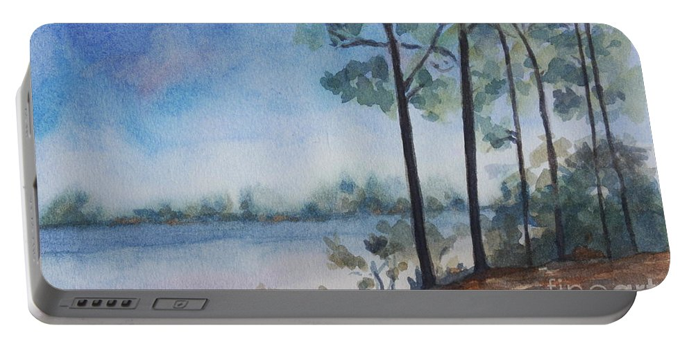 Landscape Portable Battery Charger featuring the painting On the Bay by Jan Bennicoff