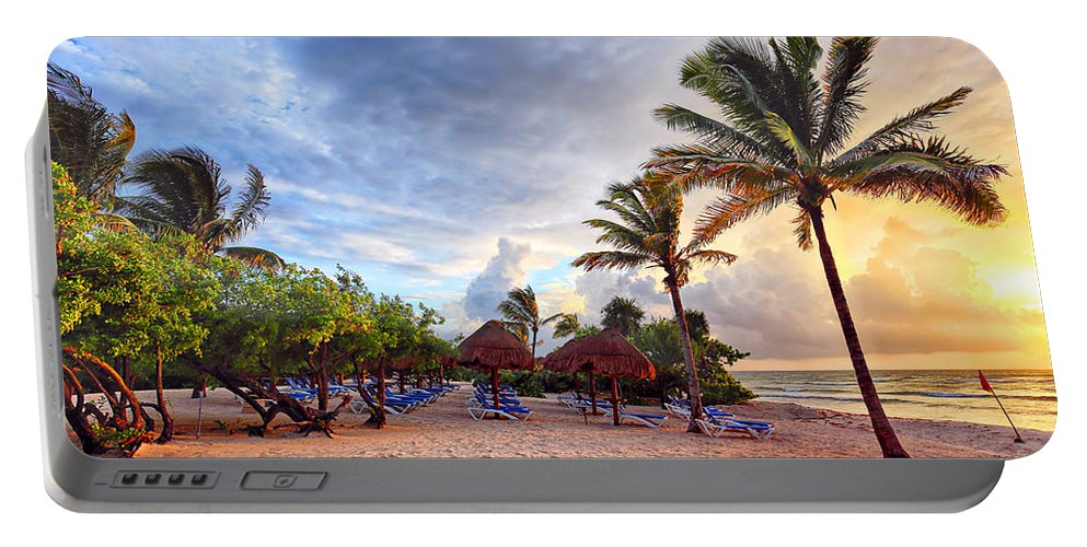 Sky Portable Battery Charger featuring the photograph On The Beach by Paul Fell
