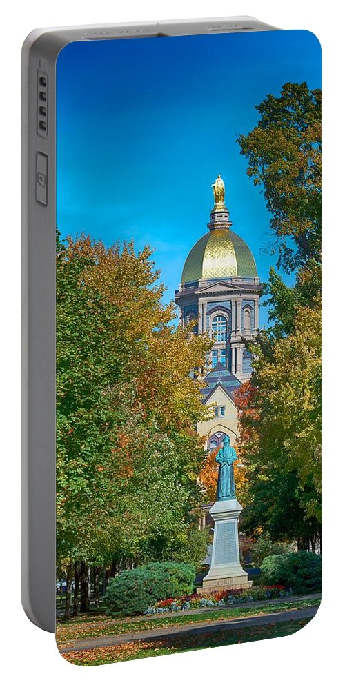 University Of Notre Dame Portable Battery Charger featuring the photograph On The Campus Of The University Of Notre Dame by Mountain Dreams