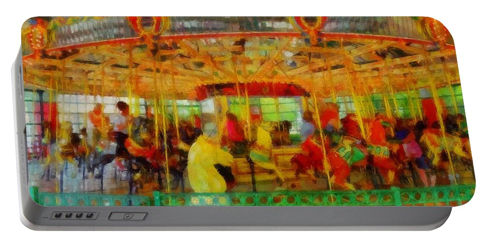 On The Carousel Portable Battery Charger featuring the painting On The Carousel by Dan Sproul