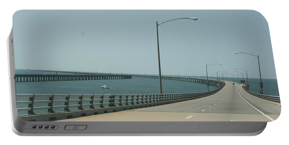 Bay Portable Battery Charger featuring the photograph On The Chesapeake Bay Bridge by Christiane Schulze Art And Photography