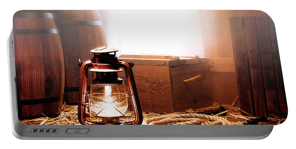 Kerosene Portable Battery Charger featuring the photograph On The Dock by Olivier Le Queinec
