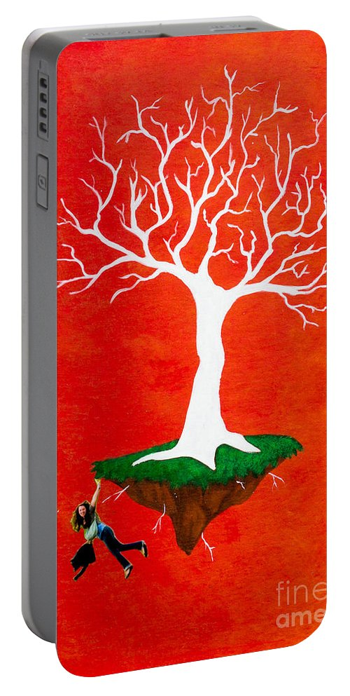Portable Battery Charger featuring the painting On The Edge by Stefanie Forck