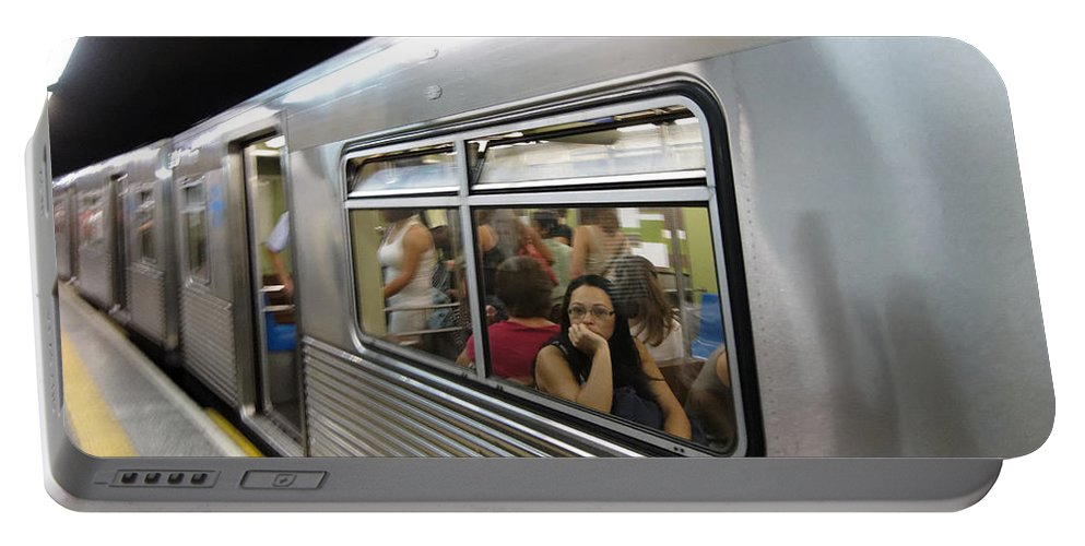 Metro Portable Battery Charger featuring the photograph On The Metro - Sao Paulo by Julie Niemela