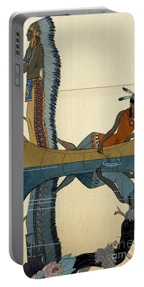 Le Long Du Missouri Portable Battery Charger featuring the painting On the Missouri by Georges Barbier