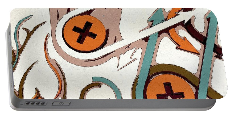 Controller Portable Battery Charger featuring the painting On The Plus Side by Florian Rodarte