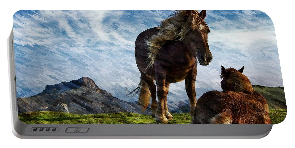 Horses Portable Battery Charger featuring the photograph On The Range by Ericamaxine Price
