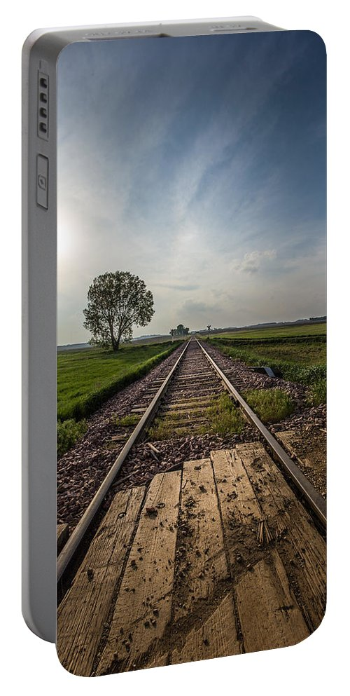 Railroad Portable Battery Charger featuring the photograph On The Right Track by Aaron J Groen