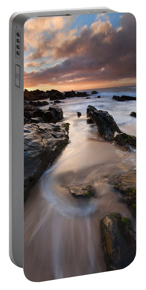 Basham Beach Portable Battery Charger featuring the photograph On The Rocks by Mike Dawson